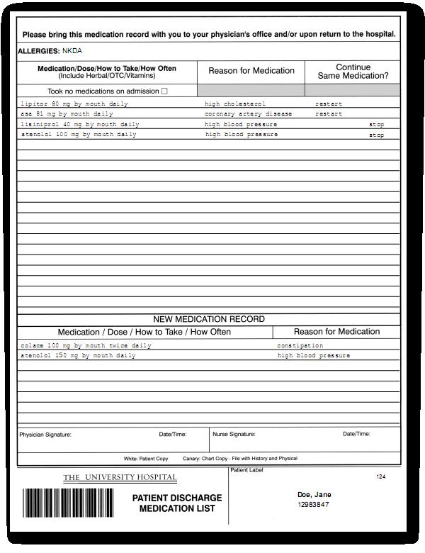 Emergency Room Admission Form